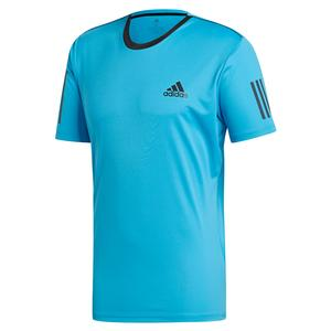 Men`s Club 3 Stripes Tennis Top Shock Cyan and Black