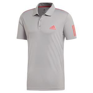 Men`s Club 3 Stripes Tennis Polo Light Granite and Shock Red