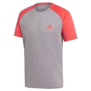 Men`s Club Color-Block Tennis Top Light Granite and Shock Red