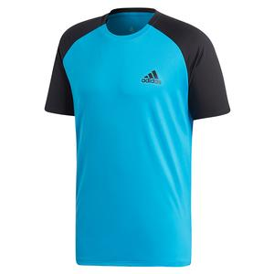 Men`s Club Color-Block Tennis Top Shock Cyan and Black