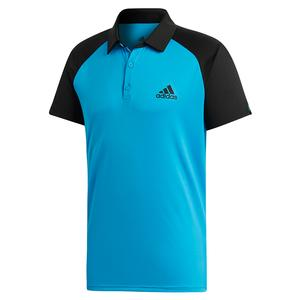 Men`s Club Color-Block Tennis Polo Shock Cyan and Black