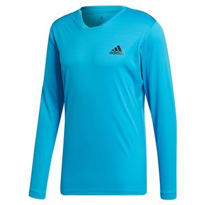 Men`s Club UV Protect Long Sleeve Tennis Top Shock Cyan and Black