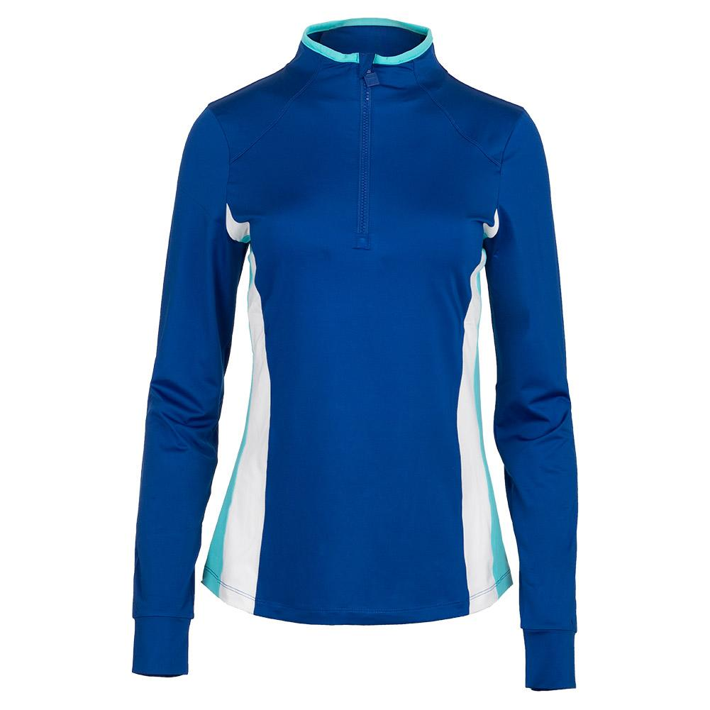 Women's Half Zip Tennis Jacket French Blue And Curacao