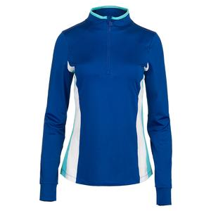 Women`s Half Zip Tennis Jacket French Blue and Curacao