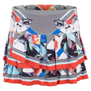 Women`s Pleat Tier Tennis Skirt Bloomy Dimensions Print