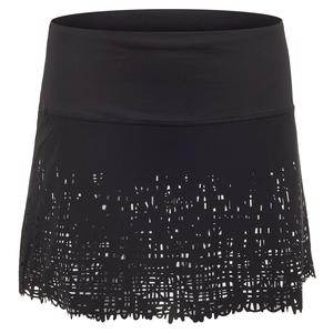 Women`s Long Laser Scribble Tennis Skirt Black