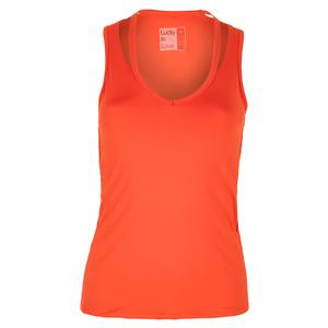 Women`s V-Neck Cutout Tennis Tank Crimson