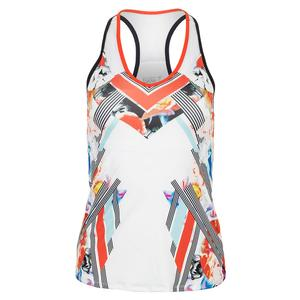 Women`s Tennis Tank White and Bloomy Dimensions Print