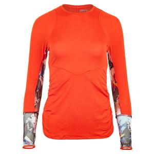 Women`s Bloomy Long Sleeve Tennis Crew Crimson