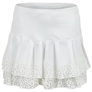 Women`s Long Sunrise Border Tennis Skirt White