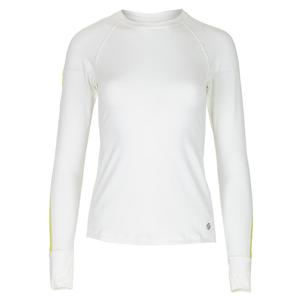 Women`s Glow Long Sleeve Tennis Top White and Daquiri