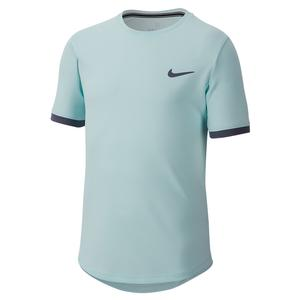 Boys` Court Dry Short Sleeve Tennis Top Teal Tint and Light Carbon
