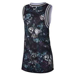Women`s Paris Team Court Tennis Dress Black and Oxygen Purple