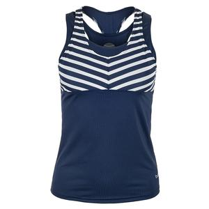 Women`s Admiralty Racerback Tennis Tank Navy and Print