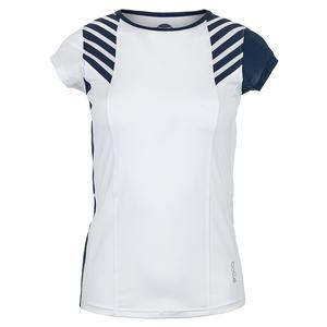 Women`s Admiralty Cap Sleeve Tennis Top White and Print