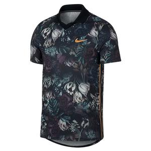 Men`s Paris Team Court Slam Tennis Polo Black and Canyon Gold