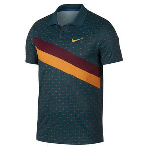 Men`s Paris Team Court Tennis Polo Nightshade and Canyon Gold