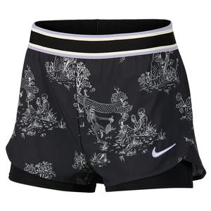 Women`s Court Flex Print Tennis Short Black and Oxygen Purple