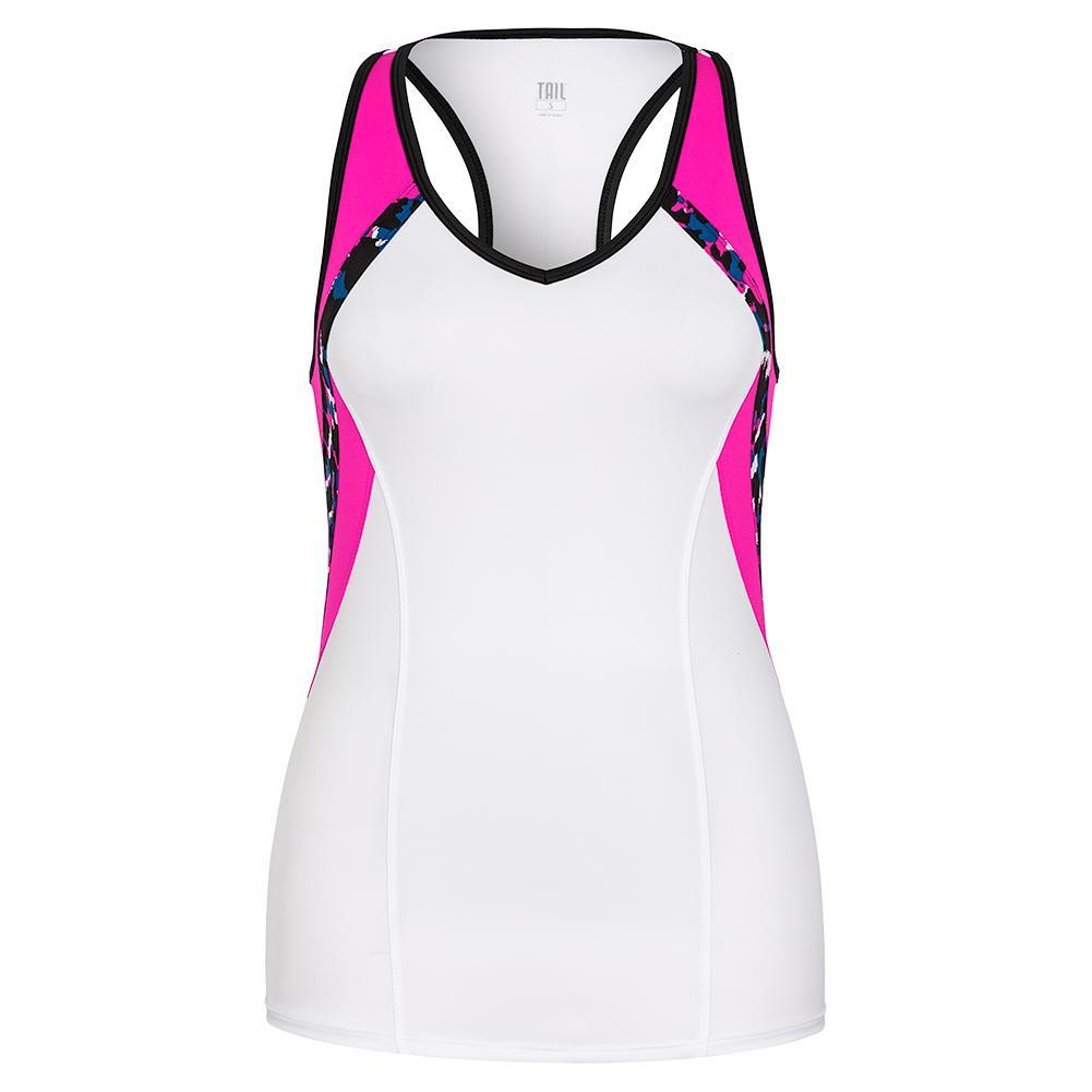 Women's Itzel Racerback Tennis Tank White And Azalea