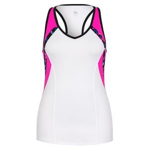 Women`s Itzel Racerback Tennis Tank White and Azalea