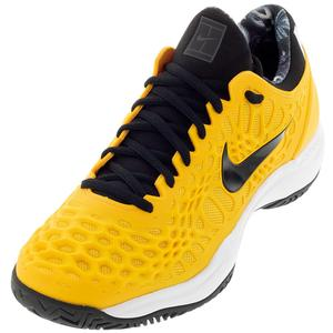 Men`s Zoom Cage 3 Clay Tennis Shoes University Gold and Black