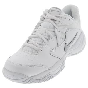 Women`s Court Lite 2 Tennis Shoes White and Metallic Silver