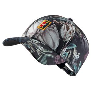 Court H86 Logo Floral Tennis Cap Black and Canyon Gold