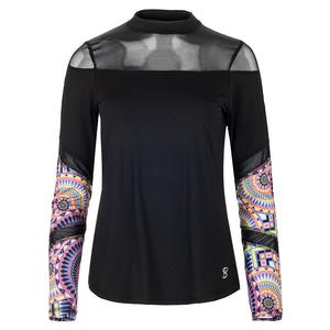 Women`s Dual Long Sleeve Tennis Top Black and Sundial Print