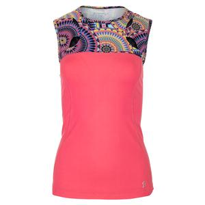 Women`s Ariel Sleeveless Tennis Top Peluche and Sundial Print