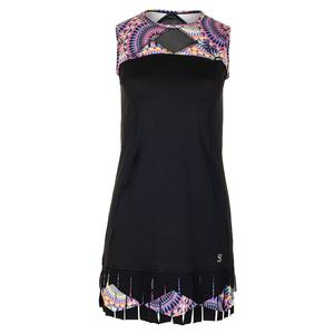 Women`s Hero Tennis Dress Black and Sundial Print
