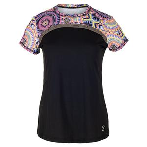 Women`s Splice Short Sleeve Tennis Top Black and Sundial Print