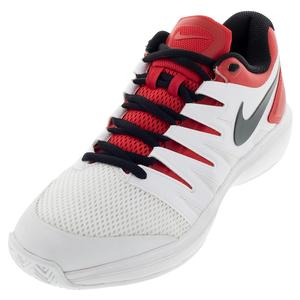 Men`s Air Zoom Prestige Tennis Shoes University Red and White