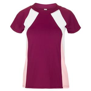 Women`s Saphire Tennis Top Burgundy and Blush
