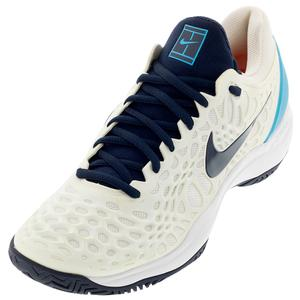 Men`s Zoom Cage 3 Tennis Shoes White and Obsidian