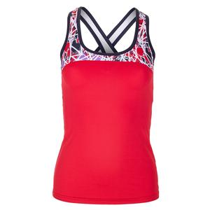 Women`s Stained Glass Racerback Tennis Tank Red and Print