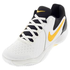 Men`s Air Zoom Resistance Tennis Shoes White and University Gold