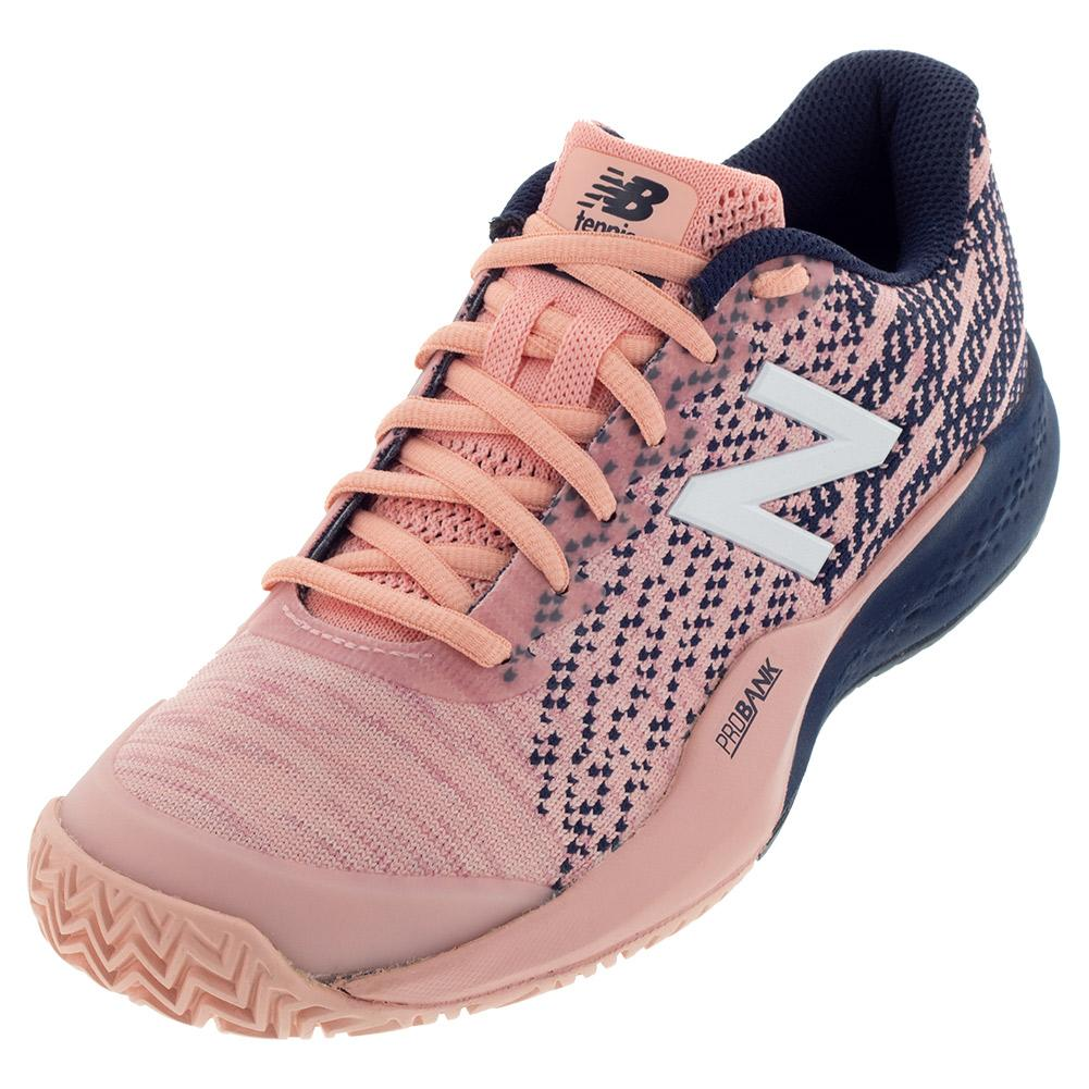 Women's 996v3 B Width Tennis Shoes White Peach And Pigment
