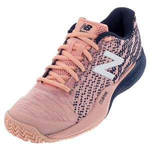 Women`s 996v3 B Width Clay Tennis Shoes White Peach and Pigment