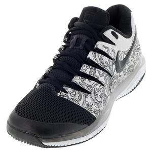 Juniors` Air Zoom Vapor X Tennis Shoes White and Black