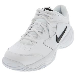 Men`s Court Lite 2 Wide Tennis Shoes White and Black