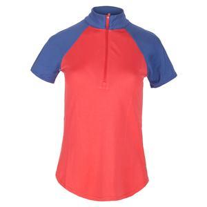 Women`s Short Sleeve Zip Mock Tennis Top Tomato and Indigo