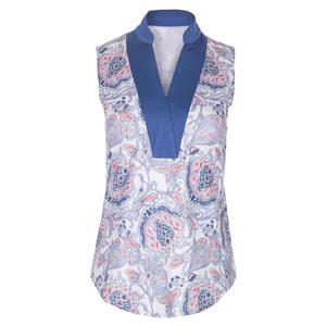 Women`s Sleeveless Tennis Top Dixie Print and Indigo