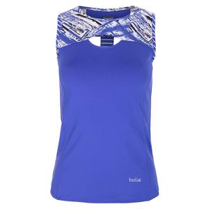 Women`s Wisteria Tennis Tank Blue Water and Print