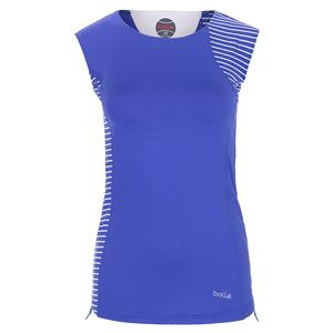 Women`s Wisteria Cap Sleeve Tennis Top Blue Water and Stripe Print