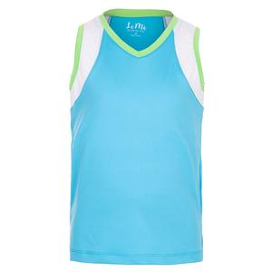 Girls` Color Block V-Neck Tennis Tank Aqua