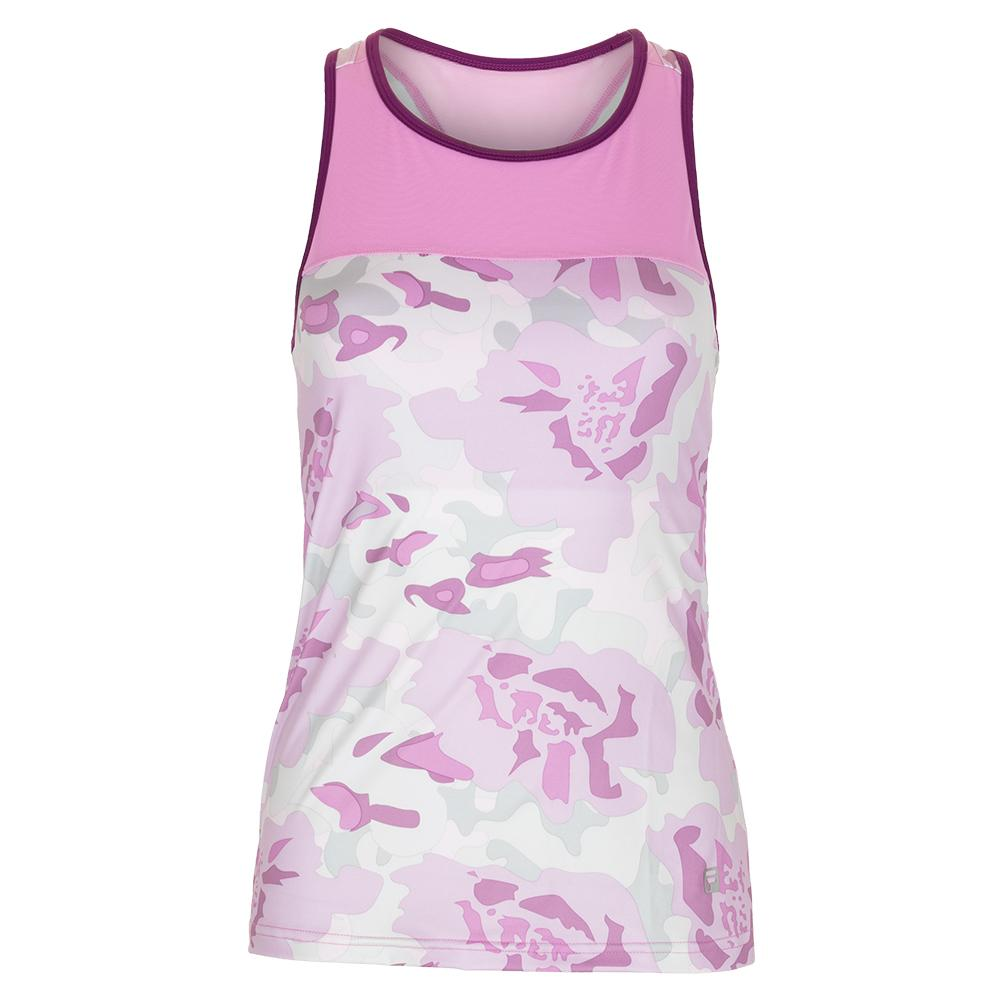 Women's Sabre Tennis Tank Floral Camo And Acid Orchid