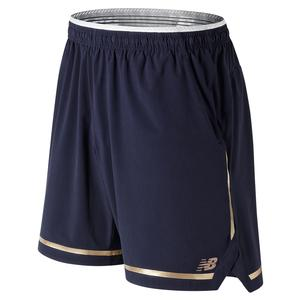 Men`s 7 Inch Tournament Tennis Short Pigment and Classic Gold Trim