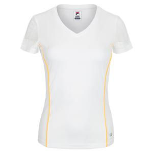 Women`s V-Neck Tennis Top White and Orange Pop Piping