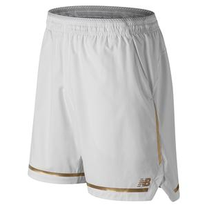 Men`s 7 Inch Tournament Tennis Short White and Classic Gold Trim