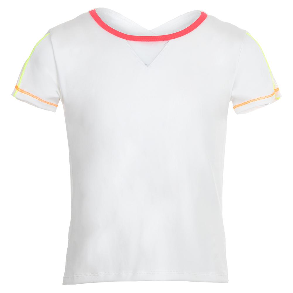Girls ` Crossover High- Low Tennis Tee White With Coral Crush Trim